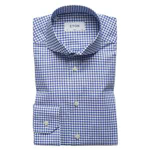 Blue and White Check Stretch Slim Fit Shirt