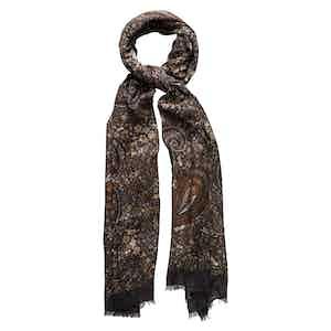 Brown Wool Paisley Modal Scarf