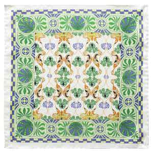 Green Floral Art Deco Pocket Square