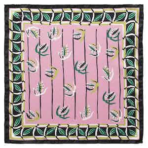 Pink Leaf Border Pocket Square