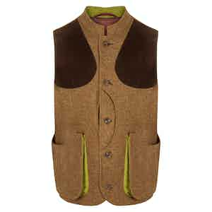 Ginger Brown Twill Lucan Gilet with Leather