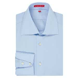 Blue Swiss Poplin Cotton Cocktail Cuff Shirt