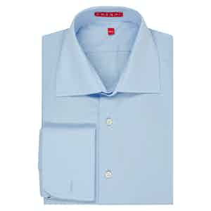 Blue Swiss Poplin Cotton Double Cuff Shirt