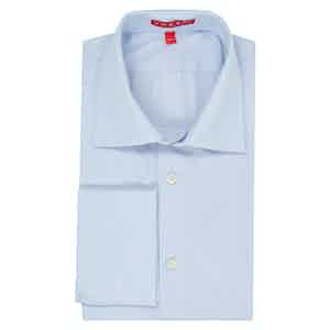 White and Blue Swiss Cotton Hairline Stripe Double Cuff Shirt