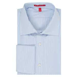 Light Blue Swiss Cotton Medium Bengal Stripe Double Cuff Shirt