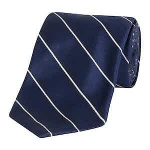 Blue and White Striped Silk Tie