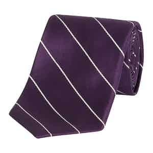 Purple and White Striped Silk Tie