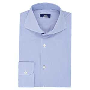 Light Blue Cotton Striped Business Shirt