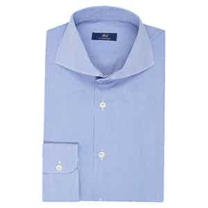 Light Blue Cotton Striped Business Shirt