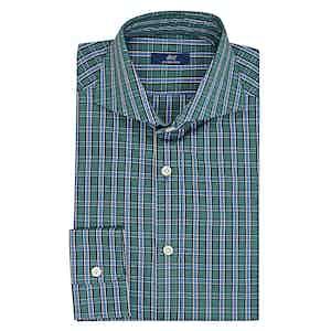 Azure and Green Cotton Check Shirt
