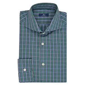 Azure and Green Cotton Check Shirt