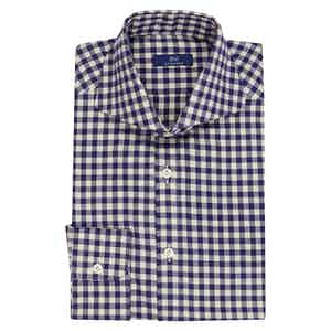 Navy Cotton Gingham Shirt
