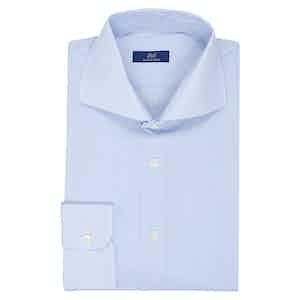 Light Blue Cotton Micro Striped Shirt
