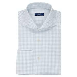 White and Light Blue Check Shirt