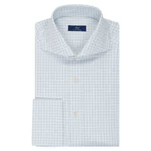 White and Light Blue Check Shirt
