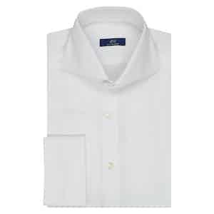 White Twill Cotton Double Cuff Shirt