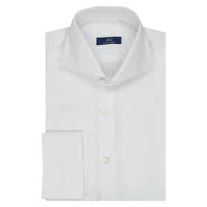 White Twill Cotton Double Cuff Shirt