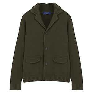 Dark Green Honeycombe-Knit 4-Ply Cashmere Cardigan