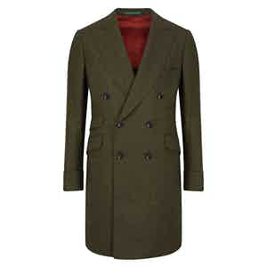 Green Long Double-Breasted Cashmere Coat