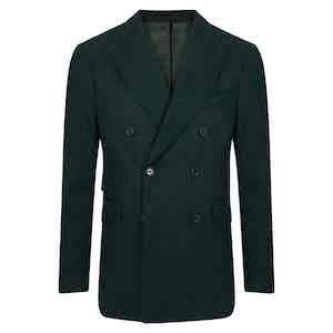 Dark Green Herringbone Cashmere Double-Breasted Jacket