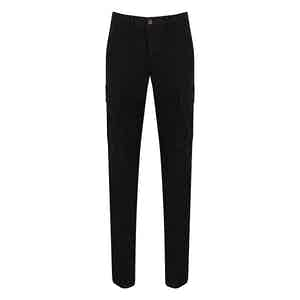Black Cotton Cargo Trousers