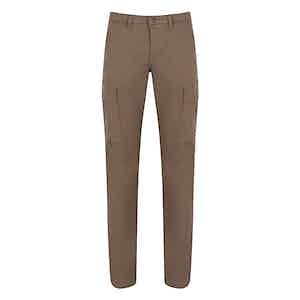 Light Brown Cotton Cargo Trousers