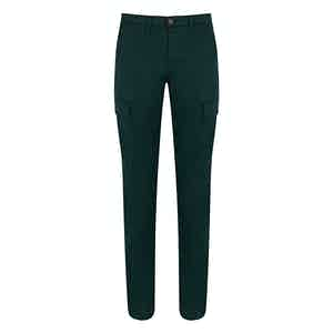 Basil Green Cotton Cargo Trousers