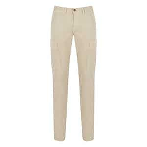 Beige Cotton Cargo Trousers