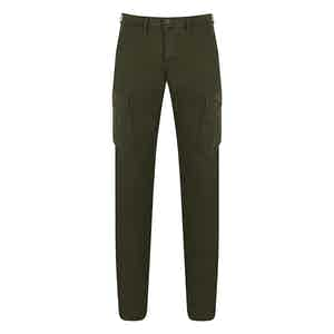 Military Green Cotton Cargo Trousers