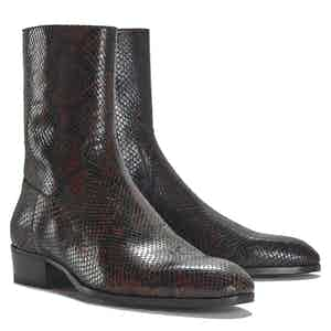 Cash Brown and Black Snakeskin Printed Leather Side Zip Boots