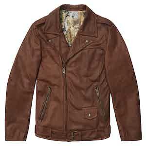 Hopper Brown Waxy Leather Biker Jacket