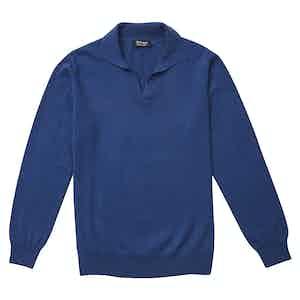 P.P.P. Blue Cashmere Long-Sleeved Polo Shirt