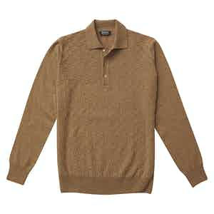 P.P.P. Light Brown Cashmere Long-Sleeved Polo Shirt