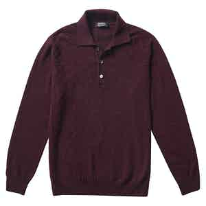 P.P.P. Burgundy Cashmere Long-Sleeved Polo Shirt