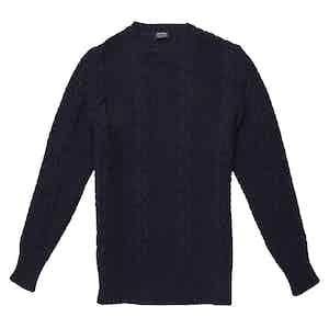 Alfredo Blue Merino Wool Cable Knit Sweater
