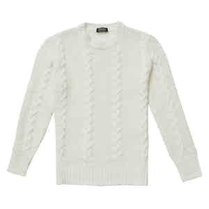 Alfredo Cream Merino Wool Cable Knit Sweater