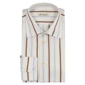 Off White Brown And Light Blue Stripe Exclusive Cloth Shirt