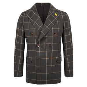Grey Wool WIndowpane Double Breasted Jacket