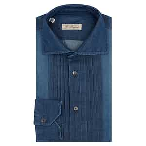 Washed Denim Pleated Shirt