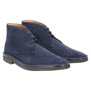 Navy Suede High Car Boot