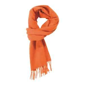 Plain Orange Brushed Cashmere Scarf