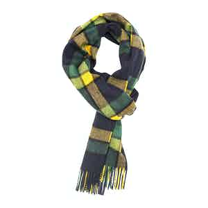 Yellow and Green Tartan Brushed Cashmere Scarf