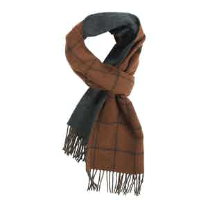 Rust and Navy Windopane Double Faced Scarf