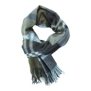 Navy and Khaki Primary Blackwatch Ripple Cashmere Stole Scarf