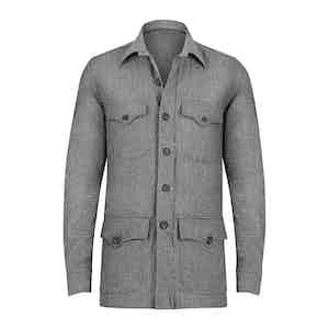 Light Grey Wool and Cashmere Blend Sahariana
