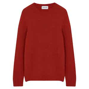 Red Wool Cashmere Crewneck Jumper