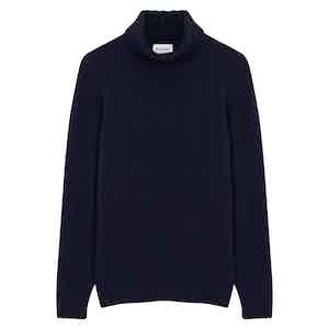 Navy Blue Wool Cashmere Rollneck Jumper