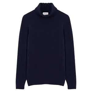 Navy Blue Wool Cashmere Rollneck Jumper
