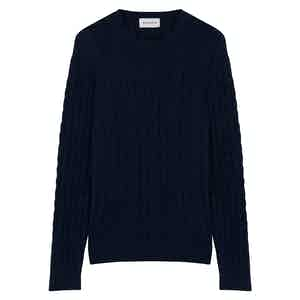 Navy Extra Fine Wool Cableknit Jumper
