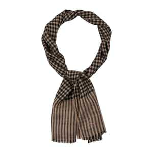 Narrow Black and Natural Check Cashmere Scarf